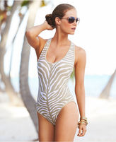 MICHAEL Michael Kors Swimsuit, Racerback Animal-Print Maillot One-Piece