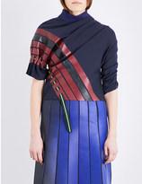 Martina Spetlova Striped ruched leather top