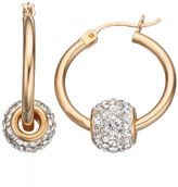 Crystal 14k Gold Over Silver Spinner Ball Hoop Earrings