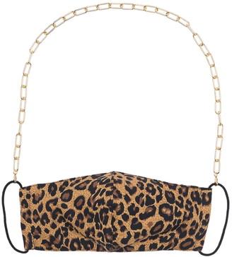 Panacea Gold Chain Leopard Print Face Mask, Mask Chain, & Stud Earrings 3-Piece Set
