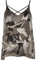 River Island Womens Grey camo strappy cami top