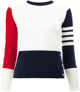 Thom Browne Classic Crewneck Pullover in Funmix Cashmere with 4-Bar Sleeve Stripe