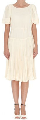 See by Chloe Butterfly-Sleeve Pleated Dress