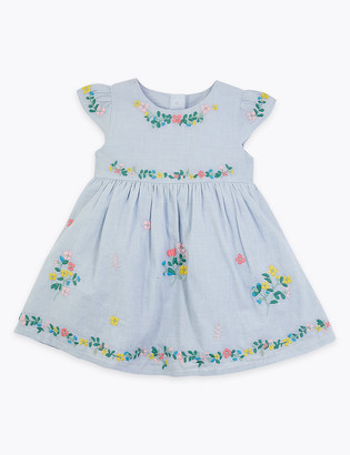 Marks and Spencer Cotton Floral Embroidered Dress (0-3 Yrs)