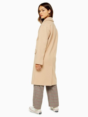 Topshop Petite Cissie Double Breasted Coat - Camel