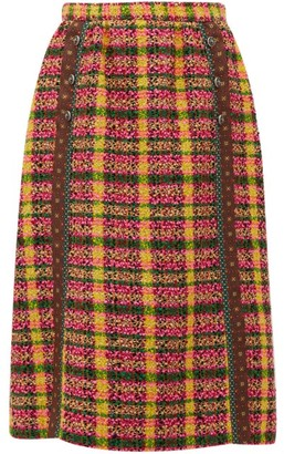 Gucci Wool-blend Tweed Skirt - Womens - Yellow Multi