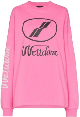 we11done logo-print cotton long-sleeve T-shirt