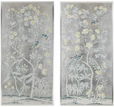 Simon Paul Scott Pale Blue/Yellow on Silver Leaf Art