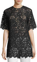 Valentino Lace Short-Sleeve Tunic Top