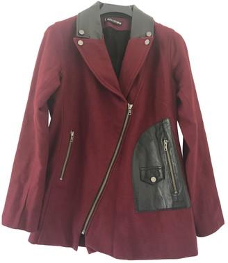 Religion Burgundy Wool Coat for Women