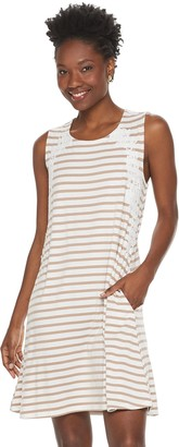 Nina Leonard Women's Striped Lace-Trim Swing Dress