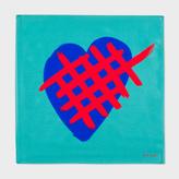 Paul Smith Men's Jade 'Crossed Heart' Print Silk Pocket Square