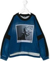 Diesel denim effect photo print sweatshirt