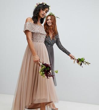 Maya Bridesmaid bardot high low maxi dress in taupe blush