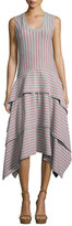Opening Ceremony Sleeveless Tiered Striped Jersey Dress, Gray