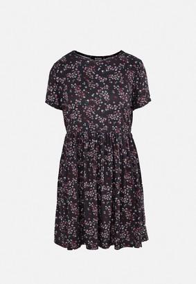 Missguided Black Floral Print Jersey Smock Dress