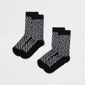 River Island Boys black monogram 2 pack sock