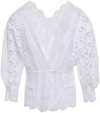 Sandro Paula Broderie Anglaise Cotton Wrap Top
