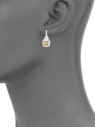 Judith Ripka Natalie Sterling Silver, Canary Crystal & White Topaz Cushion Drop Earrings