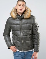 Asos Quilted Jacket With Fur Trim Hood In Khaki