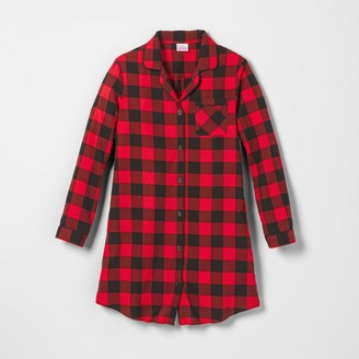 Women's Holiday Buffalo Check Flannel Matching Family Pajamas Nightgown - WondershopTM