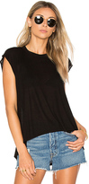 Enza Costa Hi Lo Rib Tee in Black
