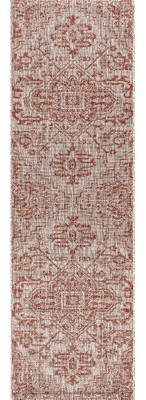 Bungalow Rose Truman Bohemian Medallion Textured Weave Indoor/Outdoor Red Area Rug