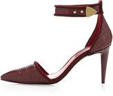 Charles Jourdan Honor Pointy-Toe Ankle-Strap Pump, Burgundy