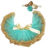 Petitebella Aqua Gold Baby Skirt Tutu Girl Clothing with Headband Set 3-12m