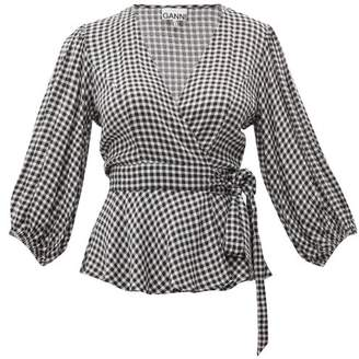 Ganni Gingham Wrap-around Crepe Top - Womens - Black White