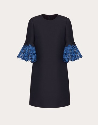 Valentino Crepe Couture And Macrame Inlay Dress Women Navy/blue Virgin Wool 65%, Silk 35% 40