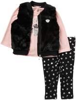 Juicy Couture Faux Fur Vest, Top, & Leggings Set (Baby Girls)