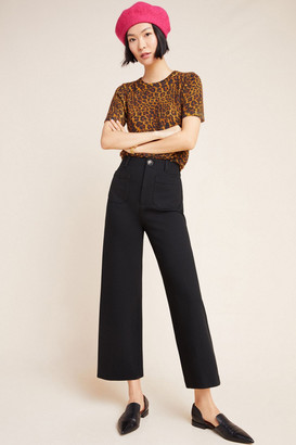 Anthropologie Courtney Ponte Cropped Wide-Leg Pants