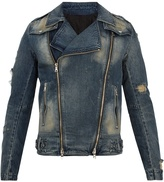 Balmain Distressed denim biker jacket