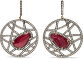 Amrapali 14-karat Gold, Silver, Ruby And Diamond Earrings - Red