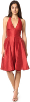Halston Flared Skirt Jacquard Dress