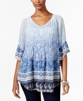 Style&Co. Style & Co Style & Co Petite Mixed-Print Pintucked Blouse, Created for Macy's