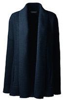 Lands' End Women's Drifter Cotton Sweater Coat-Eggshell White Stripe