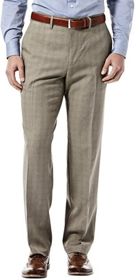 Haggar Men's Eclo Stretch Straight Fit Heathered Plaid Plain Front Pant