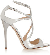 Jimmy Choo Lance Metallic Leather Sandals - Silver