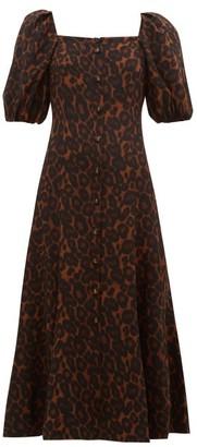 Erdem Mariona Puff-sleeved Silk Crepe Dress - Leopard