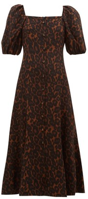 Erdem Mariona Puff-sleeved Silk Crepe Dress - Womens - Leopard