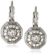 "1928 Collection Signature 1928 ""Collection"" Silver-Tone and Crystal Round Drop Earrings"