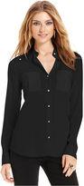Ivanka Trump Shirt, Long-Sleeve Studded Blouse