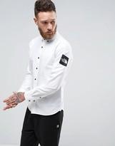 The North Face Denali Oxford Shirt Buttondown Sleeve Logo in White
