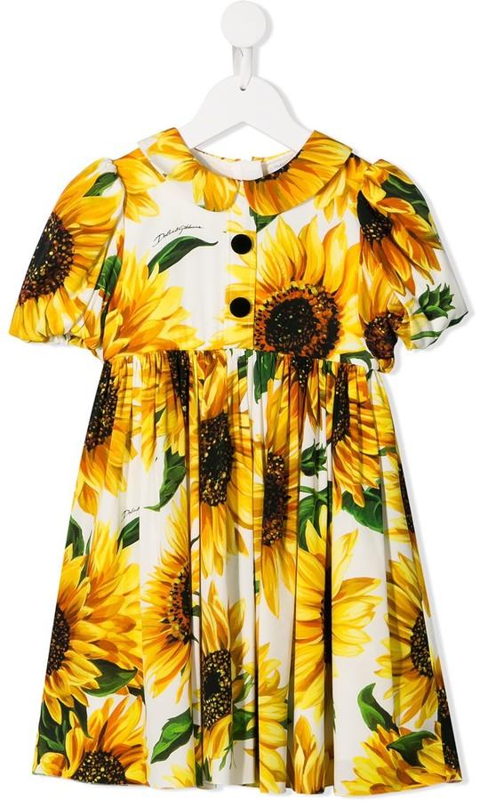 Dolce & Gabbana Kids Sunflower Print Dress