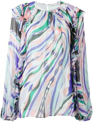 Emilio Pucci Burle Print Ruffled Silk Top