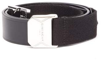 Givenchy Magnetic Buckle Leather And Grosgrain Belt - Mens - Black