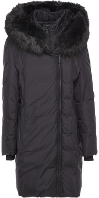 DKNY Faux Fur-trimmed Quilted Shell Hooded Coat
