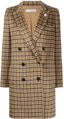 Lardini Double Breasted Check Coat